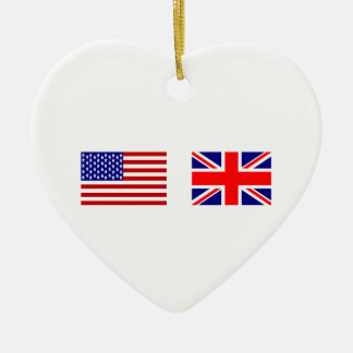 Banderas de Reino Unido y de los E.E.U.U. de lado Adorno Navideño De Cerámica En Forma De Corazón