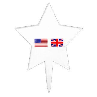 Banderas de Reino Unido y de los E.E.U.U. de lado  Figura De Tarta