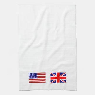 Banderas de Reino Unido y de los E.E.U.U. de lado  Toalla De Mano