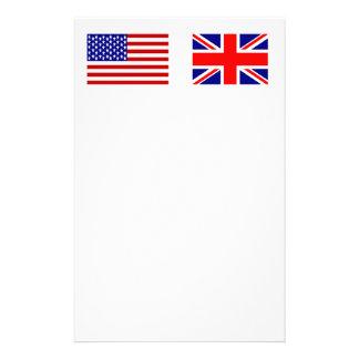 Banderas de Reino Unido y de los E.E.U.U. de lado Papeleria