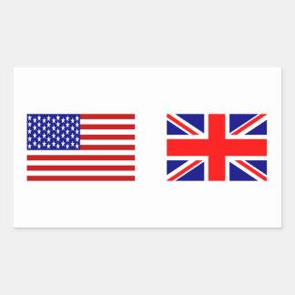 Banderas de Reino Unido y de los E E U U de lado Rectangular Pegatinas