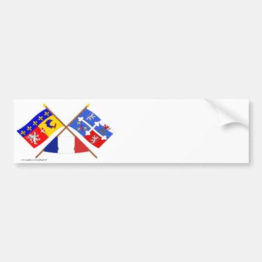 Banderas de Rhône Alpes y Ain cruzada Etiqueta De Parachoque
