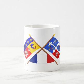 Banderas de Rhône Alpes y Ain cruzada Tazas De Café