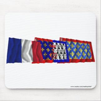 Banderas de Sarthe del Pays-de-la-Loire y de Fran Alfombrilla De Ratón