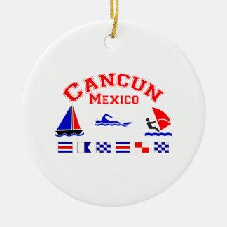 Banderas de señal de Cancun México Adorno Redondo De Cerámica