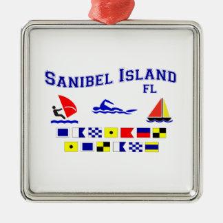 Banderas de señal de FL de la isla de Sanibel Adorno Navideño Cuadrado De Metal