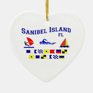 Banderas de señal de FL de la isla de Sanibel Adorno Navideño De Cerámica En Forma De Corazón
