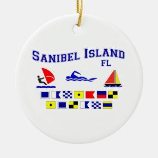 Banderas de señal de FL de la isla de Sanibel Adorno Navideño Redondo De Cerámica