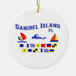 Banderas de señal de FL de la isla de Sanibel Ornamento De Navidad