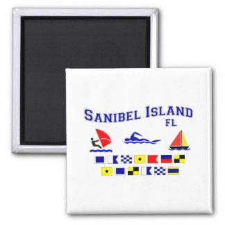 Banderas de señal de FL de la isla de Sanibel Imán Cuadrado