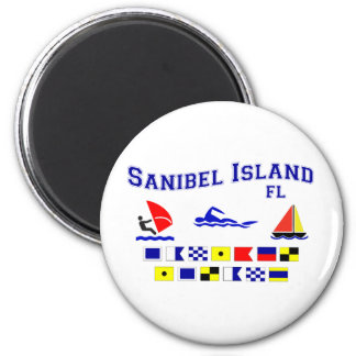 Banderas de señal de FL de la isla de Sanibel Imán Redondo 5 Cm