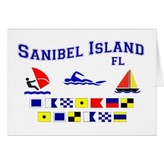 Banderas de señal de FL de la isla de Sanibel Tarjeta De Felicitación
