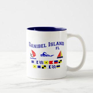 Banderas de señal de FL de la isla de Sanibel Taza De Dos Tonos