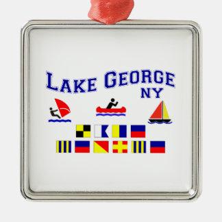 Banderas de señal de George NY del lago Adorno Navideño Cuadrado De Metal