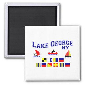Banderas de señal de George NY del lago Imanes De Nevera
