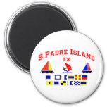 Banderas de señal de la isla TX de S Padre Imán Redondo 5 Cm