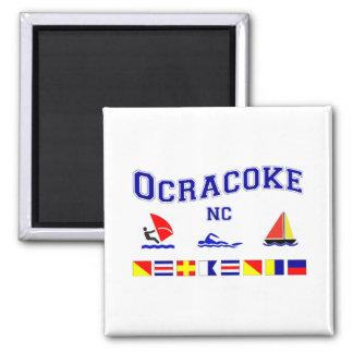 Banderas de señal de Ocracoke NC Imán Cuadrado