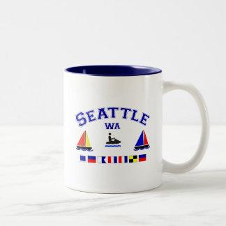 Banderas de señal de Seattle WA Taza De Café De Dos Colores
