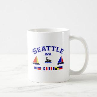 Banderas de señal de Seattle WA Tazas