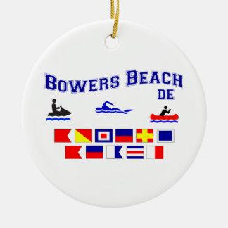 Banderas de señal del DE de la playa de las Adorno Navideño Redondo De Cerámica
