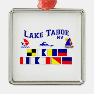 Banderas de señal del lago Tahoe nanovoltio Adorno Navideño Cuadrado De Metal