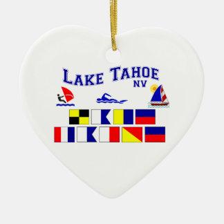 Banderas de señal del lago Tahoe nanovoltio Adorno Navideño De Cerámica En Forma De Corazón