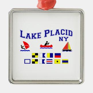 Banderas de señal del Lake Placid NY Adorno Cuadrado Plateado