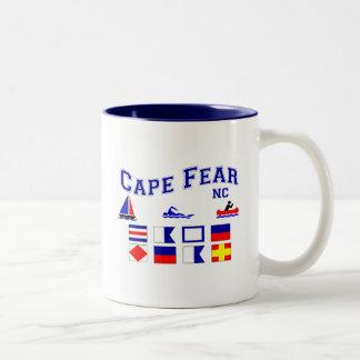 Banderas de señal del miedo del cabo del NC Taza De Dos Tonos