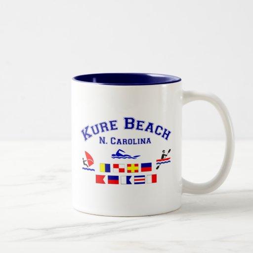 Banderas de señal del NC de la playa de Kure Taza De Café