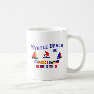 Banderas de señal del SC de Myrtle Beach Taza Básica Blanca