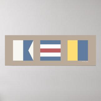 Banderas de señal náutica ACK Nantucket Poster