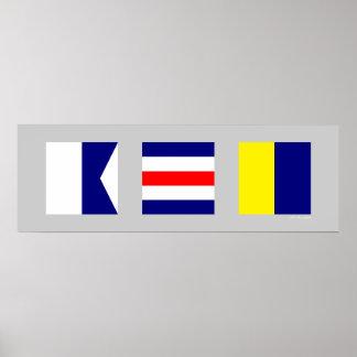 Banderas de señal náutica ACK Nantucket Póster