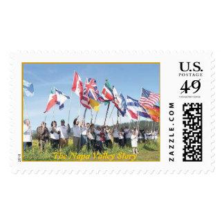 Banderas de St. Helena para la historia de Napa Sello Postal