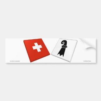Banderas de Suiza y de Basilea-Stadt Pegatina De Parachoque