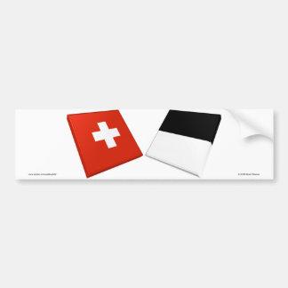 Banderas de Suiza y de Fribourg Pegatina Para Auto