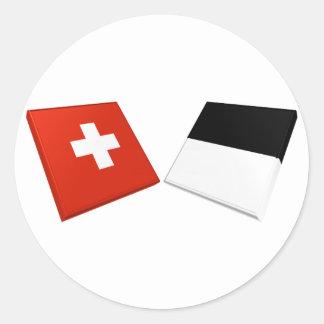 Banderas de Suiza y de Fribourg Pegatina Redonda