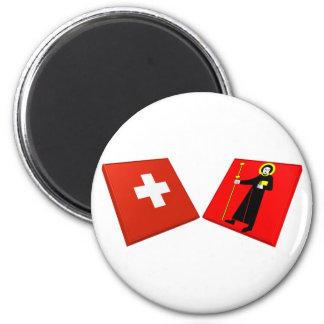 Banderas de Suiza y de Glarus Imán Redondo 5 Cm