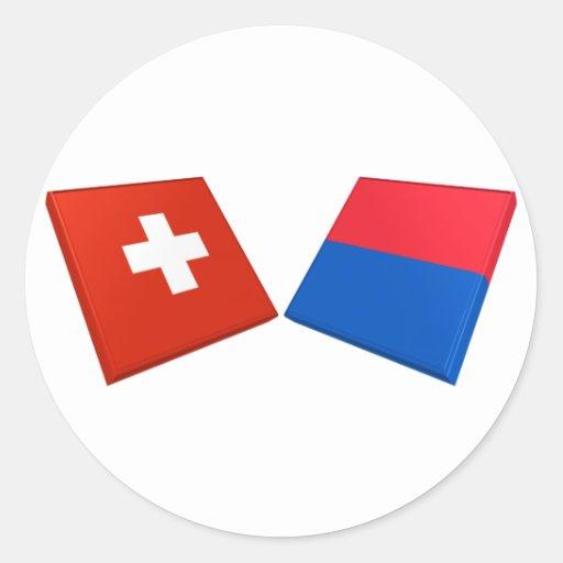 Banderas de Suiza y de Tesino Etiquetas Redondas