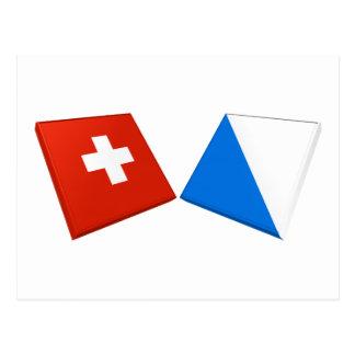 Banderas de Suiza y de Zurich Tarjeta Postal