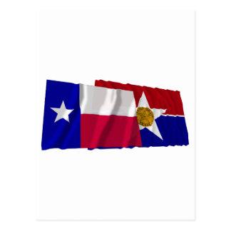 Banderas de Tejas y de Dallas Postales