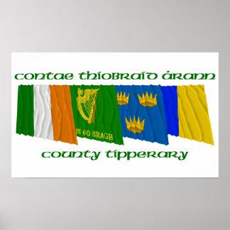 Banderas de Tipperary del condado Poster