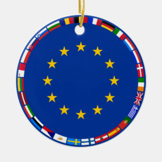 Banderas de unión europea adorno redondo de cerámica