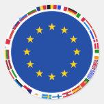 Banderas de unión europea pegatina redonda