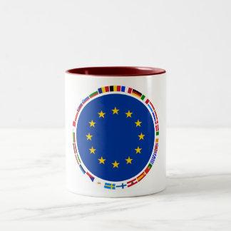 Banderas de unión europea tazas de café