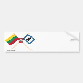 Banderas del condado de Lituania y de Siauliai con Pegatina De Parachoque