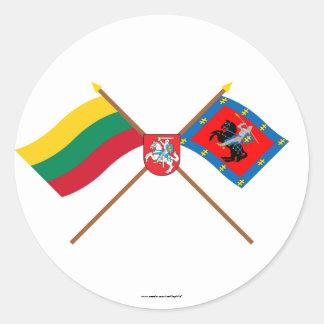 Banderas del condado de Lituania y de Vilna con Etiquetas Redondas