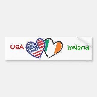 Banderas del corazón de los E.E.U.U. Irlanda Pegatina De Parachoque