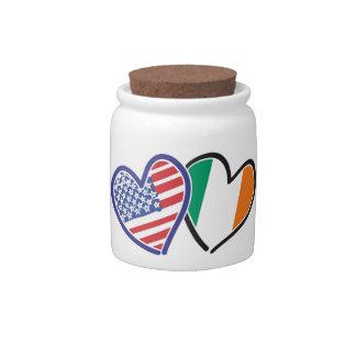 Banderas del corazón de los E.E.U.U. Irlanda Jarras Para Caramelos