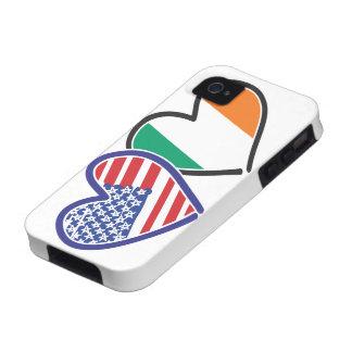 Banderas del corazón de los E.E.U.U. Irlanda Vibe iPhone 4 Funda