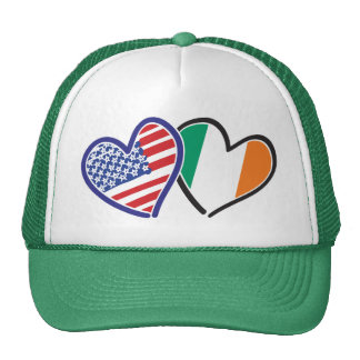 Banderas del corazón de los E.E.U.U. Irlanda Gorros